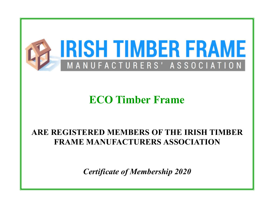ECO - ITFMA Certificate ECO Timber Systems Cork Roof Trusses Timber Frame Build Smart