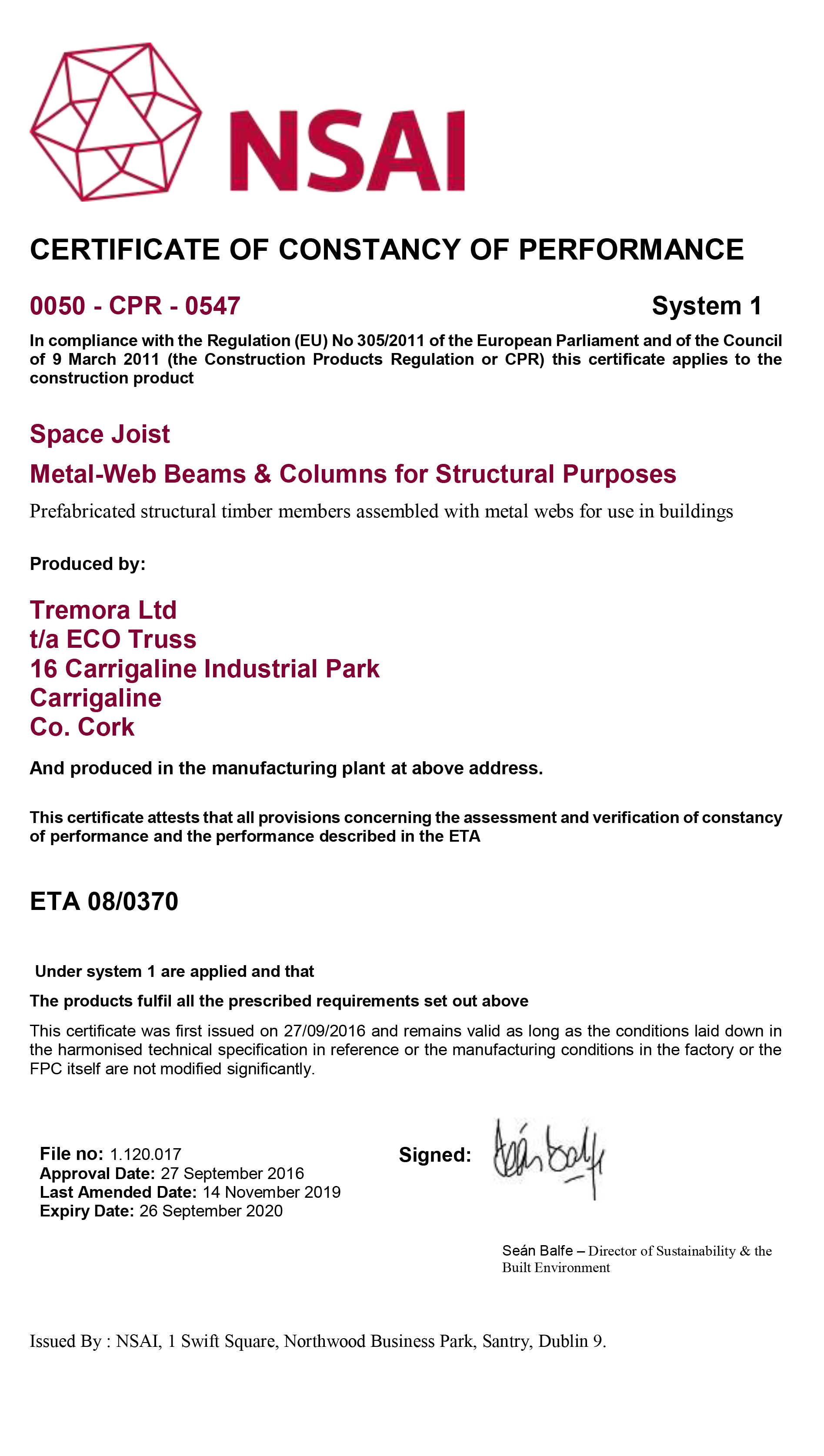 NSAI ECO Joist Certificate ECO Timber Systems Cork Roof Trusses Timber Frame Build Smart