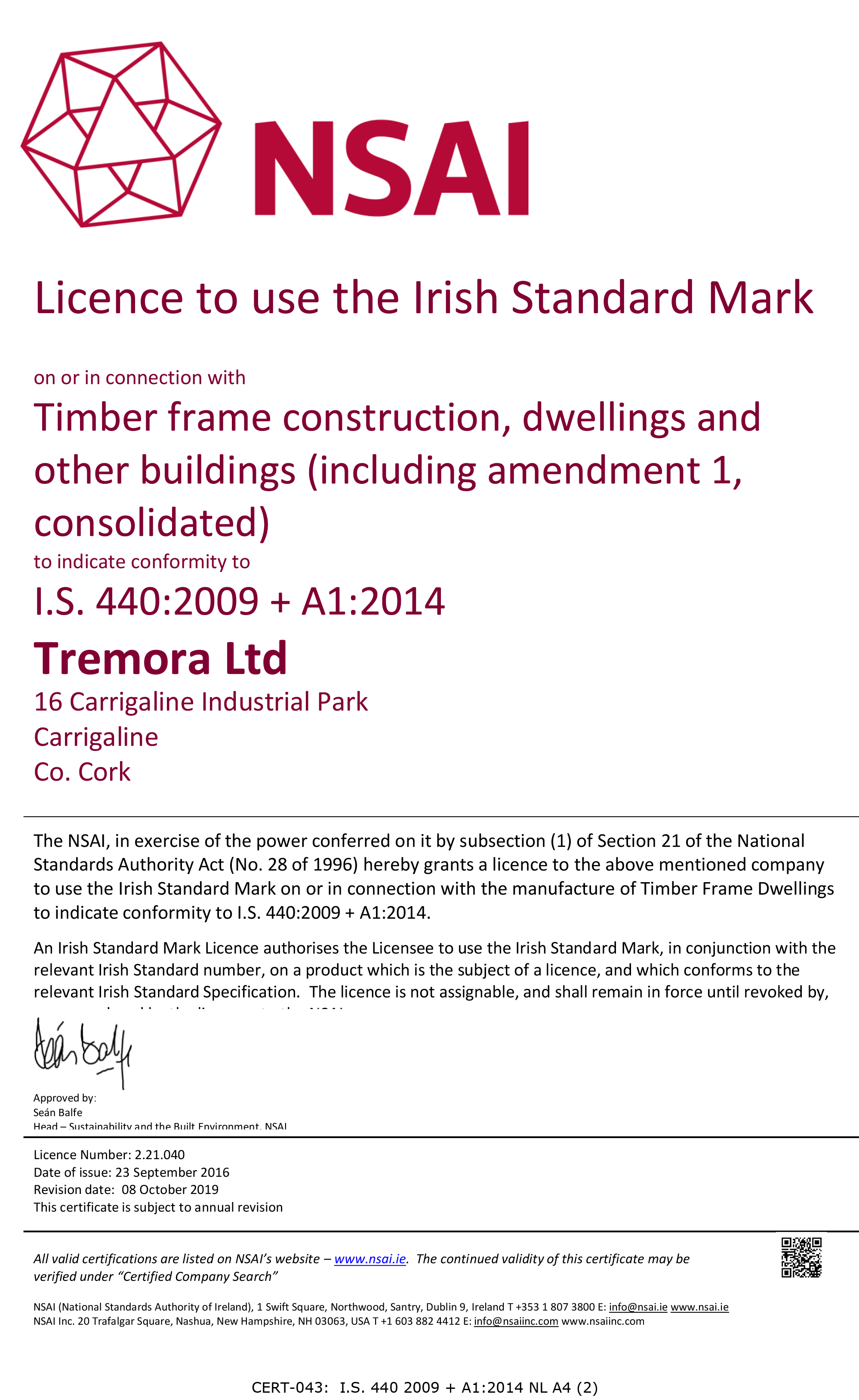 NSAI Timber Frame Certificate I.S. 440 2009+A1:2014 NL A4 (2) ECO Timber Systems Cork Roof Trusses Timber Frame Build Smart